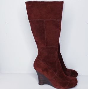 Biviel red suede high heeled boots
